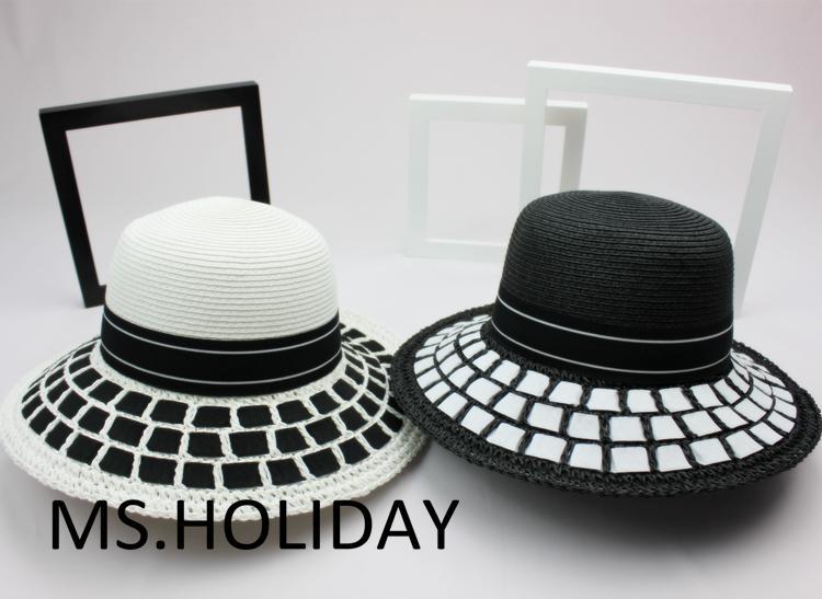 2015 Classic simplicity Black&amp;white dress hat fashion bucket hats topi Travel Sun cap women Brand Straw hat VisorsОдежда и ак�е��уары<br><br><br>Aliexpress