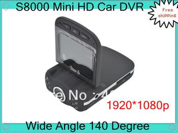 Free shipping Car Dvr, Car camera recorder, S8000 Mini DVR, 2.4 inch screen 1080P 140 Degree with night vision Car Black box