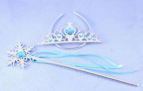 Принцесса анна эльза заводная головка тиара девушки волосы аксессуары-новый тиара косплей корона + + волшебная палочка + перчатку для детей ну вечеринку