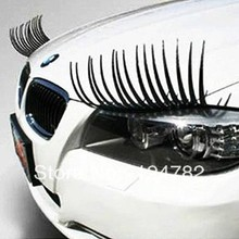 Discount promotion car personality car headlamps eyebrow magic eye on stereo false eyelash sticker free shipping 3d logo sticker(China (Mainland))