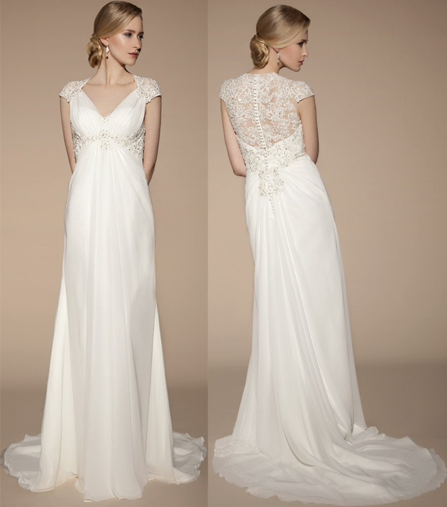 Elegant Long Off White Wedding Dresses 2015 Sheer Back With Lace Appliques Sexy V Neck Short