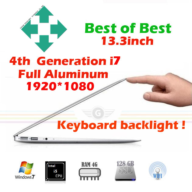13.3 inch gaming laptop computer notebook computer netbook ultrabook intel core i7 webcam with free shipping 1920*1080 backlight(China (Mainland))
