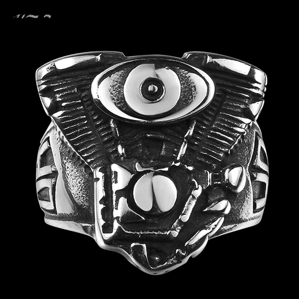 2016 2016 New Hot Men's boys Motorcycle Punk Ring Engine Rumble 316L Stainless Steel Biker Racer Rider Mechanic Ring(China (Mainland))