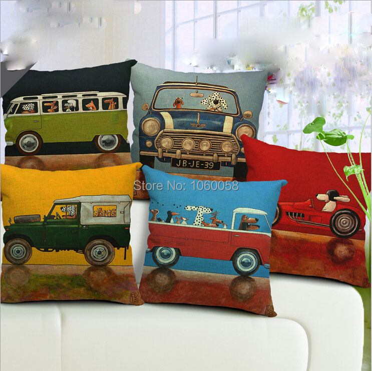 Hot Sale Pillow Covers Lovely Cartoon Dog Driving Car Almofadas 45X45CM Linen Pillow Cover \ Christmas Decorative Linen Cushion(China (Mainland))