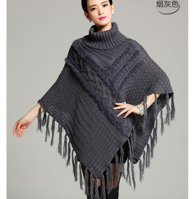 Knitting Pattern For Womens Poncho : 40% OFF Winter Womens Boho Black Even Knit Turtleneck ...