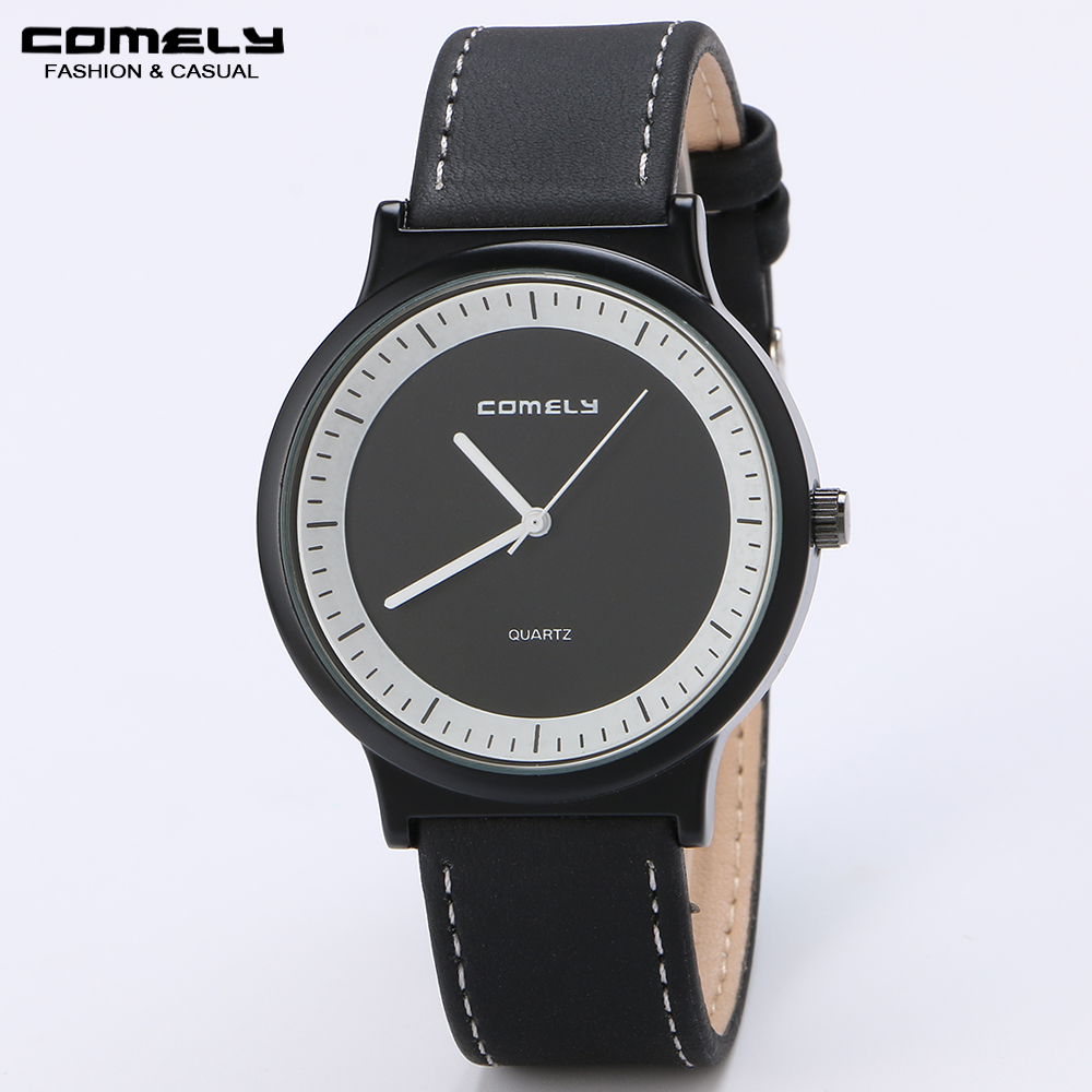 COMELY Men dress fashion watch Business casual genuine leather high-end watch brand quartz watches Simple Gifts outdoors sports(China (Mainland))