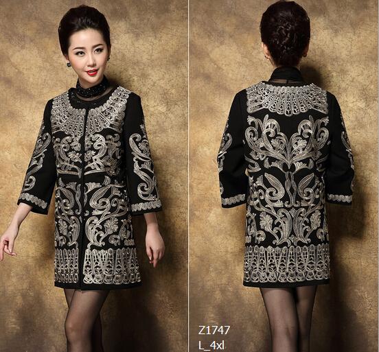 Европейский стиль 2015 новое поступление осень и зима женщины мода элегантный причина пальто вышивка тонкий плащ пульс-размера 4XL Z1747