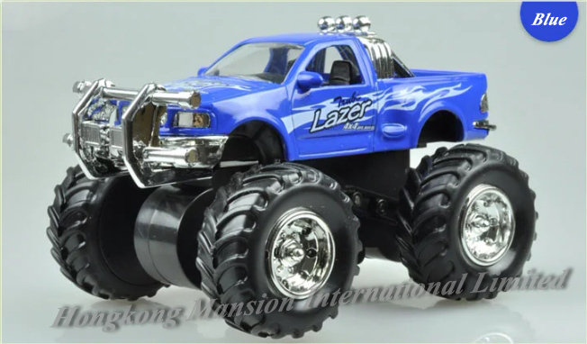 1:32 Scale Alloy Diecast Car Model For Monster Truck Bigfoot Car Crosscountry Big Wheel Friction Power Car - Blue / Red / Yellow(China (Mainland))
