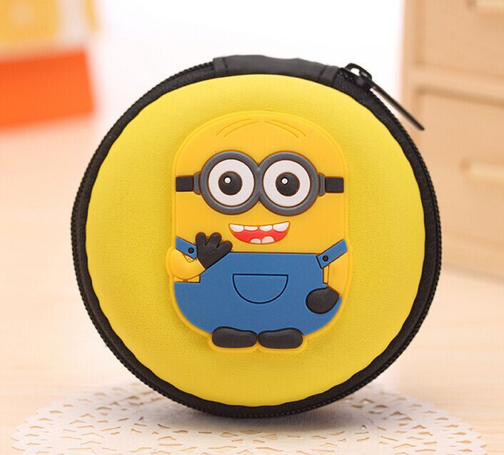 Kawaii Despicable ME Yellow Minions - 7CM Cable Wire Holder BOX ; Pocket BAG ; Coin Purse BAG ; Key BAG ; Key Wallet Pouch(China (Mainland))