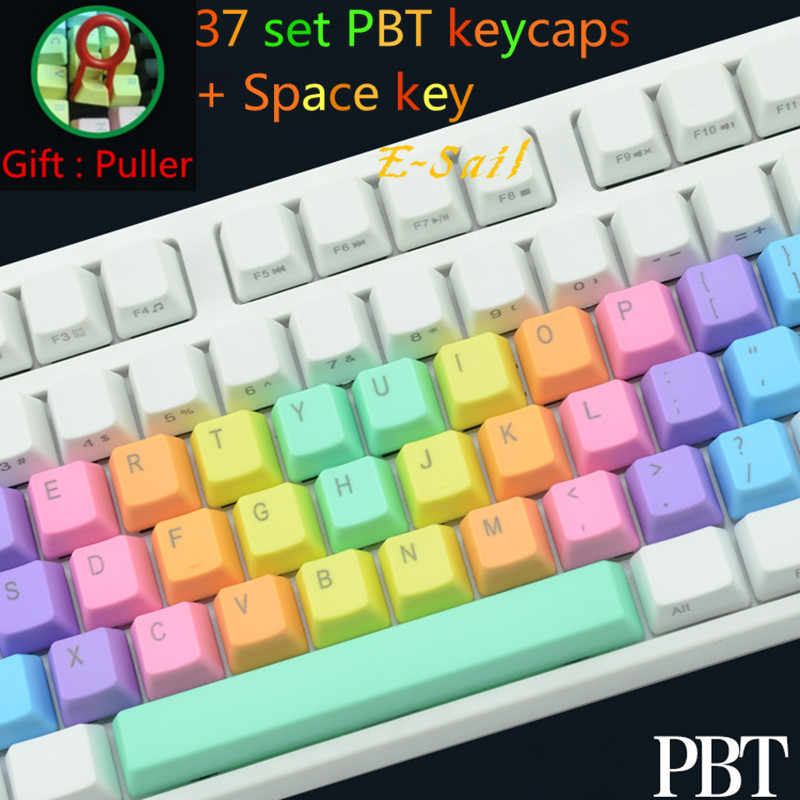 Free Shipping 37 keys and Space key IKBC Colorful Rainbow PBT Mechanical Keycap For Cherry Keycool NOPPOO PLU HPE Ducky Filco<br><br>Aliexpress