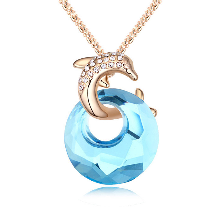 Made with Swarovski Elements fashion 18k gold plated women Dolphin pendant sweater long necklace Luxury chain necklaces jewelry(China (Mainland))