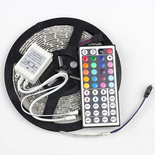 LED Light Strip 3528 SMD 300leds/5M Waterproof Ip65 Rubon Tape 12V Fita De Led,only rgb tiras led with 44keys Remote Control(China (Mainland))