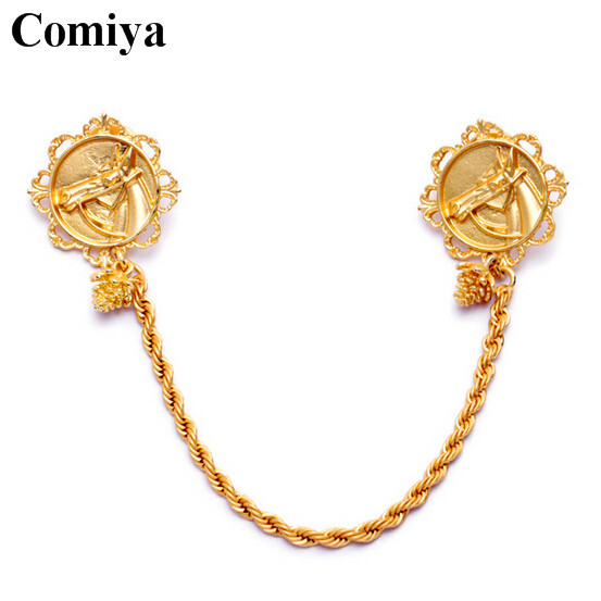 Hot selling European and American style brooches gold plated zinc alloy brooch pins twisted metal chain disc printed horse head(China (Mainland))