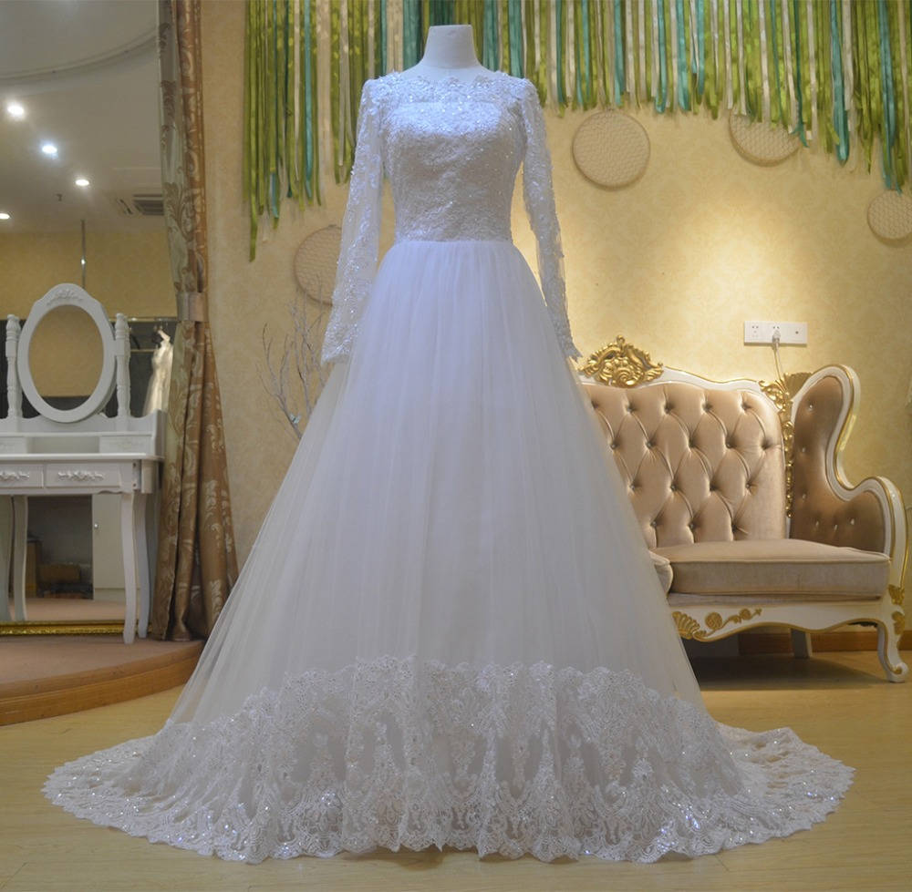 New Real Photo Cheap Elegant Bridal Dress Popular White Long Sleeves Lace Wedding Dresses 2016(China (Mainland))