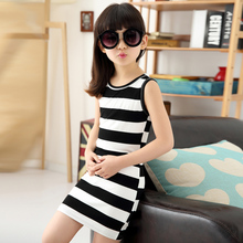 Children Girls' Clothing Black And White Stripes Summer Girl Dress 100% Cotton 3-14 Years Kids Vest Dresses For Teenage Girls(China (Mainland))
