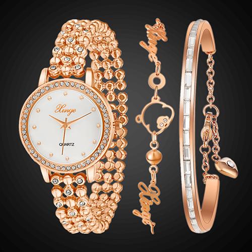 Women's Jewelry Golden Tone Lovely Bear Chain Quartz Wrist Watch + 2 Bracelets Store 49(China (Mainland))