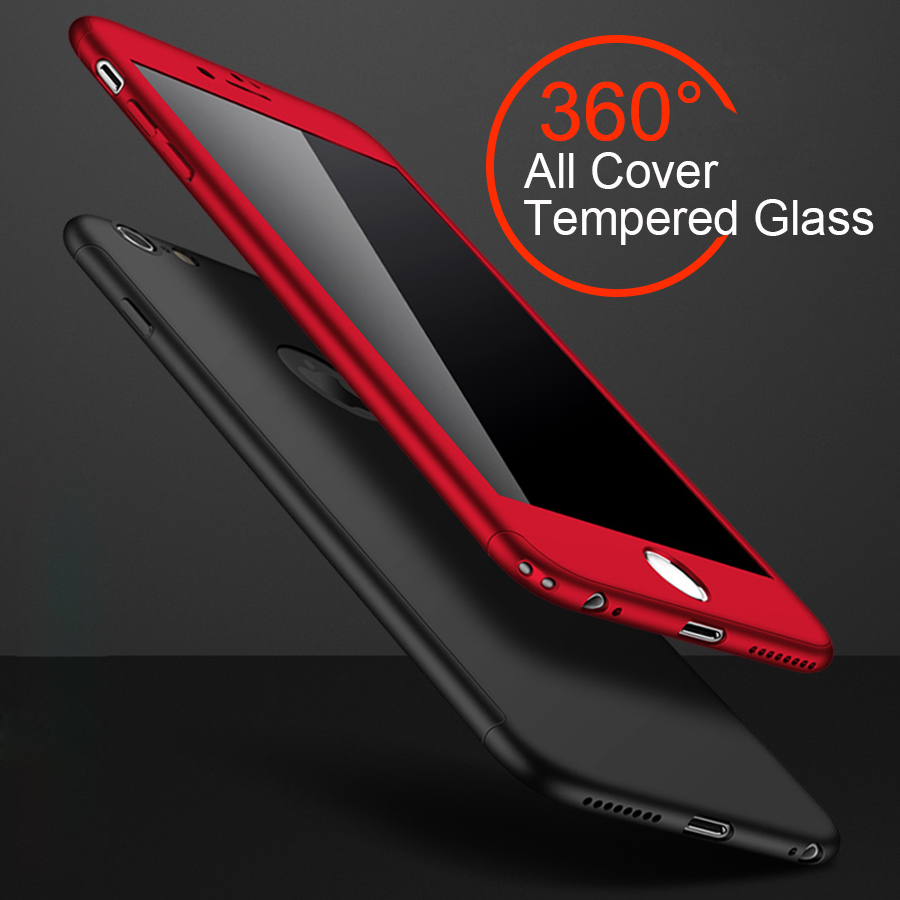 For iPhone 7 Plus Case Luxury 360 Degree Full Cover Tempered Glass Screen Protector Hard Matte Cases for Apple iPhone 6 6S Plus(China (Mainland))