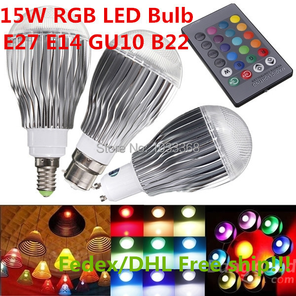 40PCS/LOT LED RGB Bulb E14 B22 GU10 9W 15W High Power AC85-265V With 1 Set Remote Contraller Aluminum alloy Free Shipping(China (Mainland))