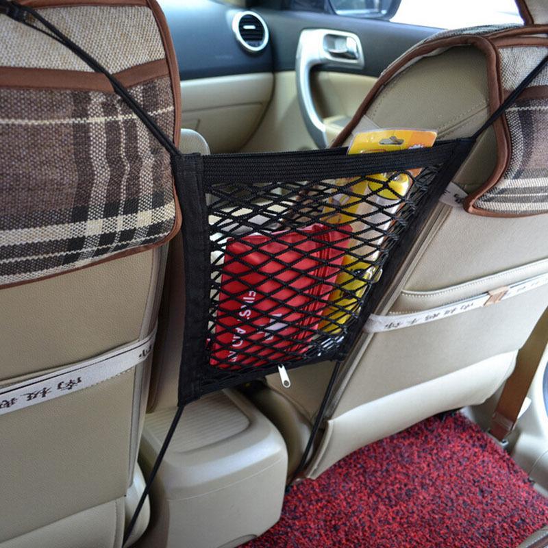 1PC Universal Car Seat Side Back Storage Net Bag Phone Holder Pocket Organizer Black 23cm * 29cm(China (Mainland))