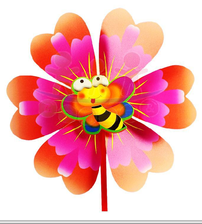 10pcs blossom flowers bees cartoon heart-shaped windmill windmill manufacturer wholesale plastic children's toys wholesale(China (Mainland))