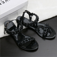 2016 Summer flip flops new plastic chain beach shoes candy color jelly sandals chain flat bottomed out sandals Shoes women