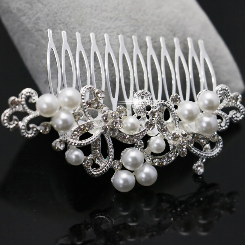 Trendy Women Hairwear Elegant Imitation Pearl Rhinestone inlay Bridal Crown Tiara Wedding Bride Hair Jewelry Comb 98x64mm(China (Mainland))