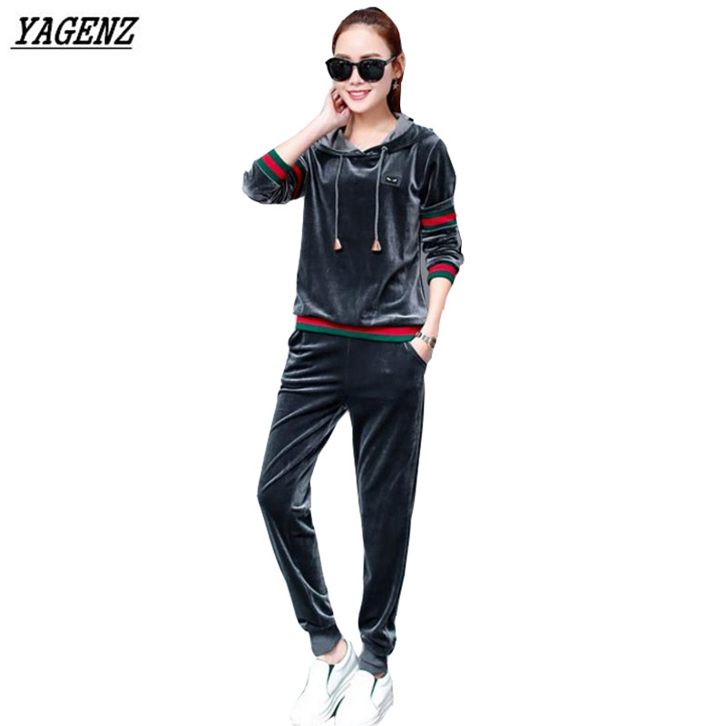 YAGENZ Women costume Velvet Suit Spring Autumn NEW Hooded Tops+Trousers Two-piece Set Velvet Tracksuits Plus Size Female Set 174(China (Mainland))