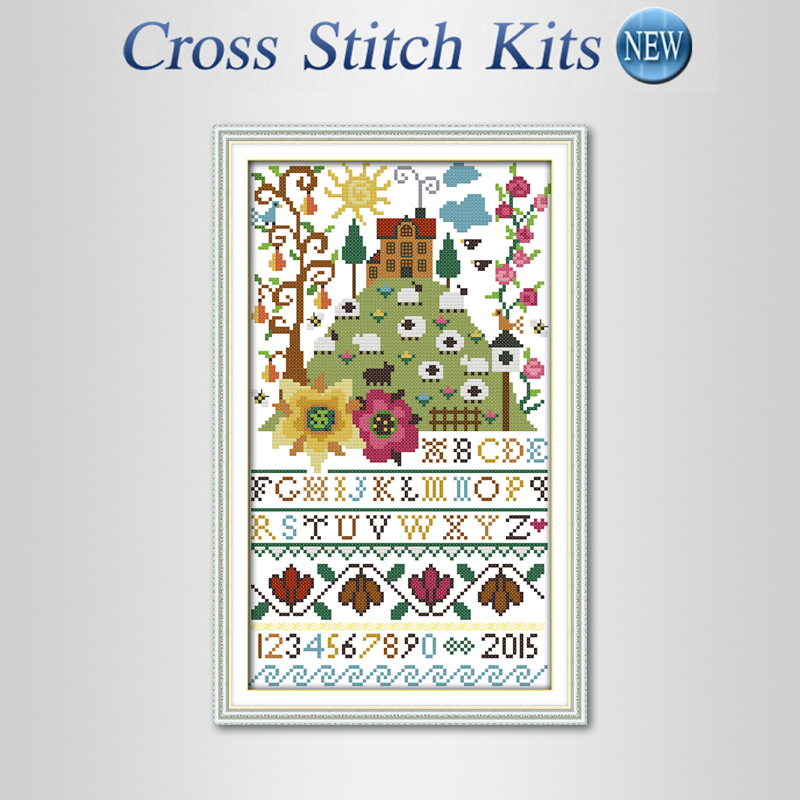 Flowers alphabet Precise Printed Pattern Counted Cross Stitch Sets DMC DIY Cross Stitch Kits for Thread embroidery Needlework(China (Mainland))