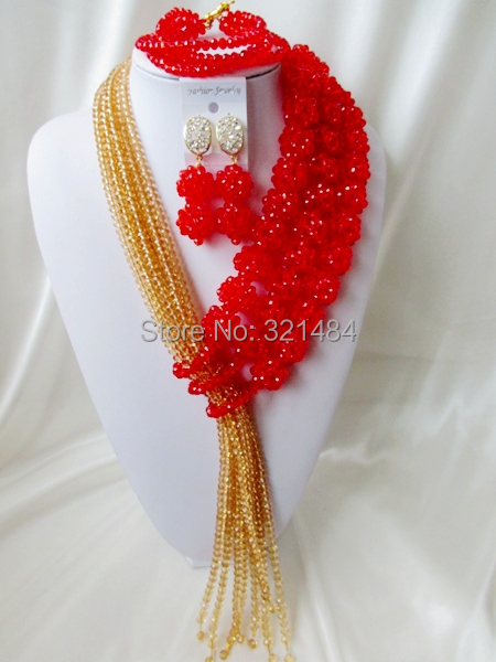 Well Made! Ball Design Champagne Gold Red Crystal Nigerian Wedding African Beads Jewelry Set VC434<br><br>Aliexpress