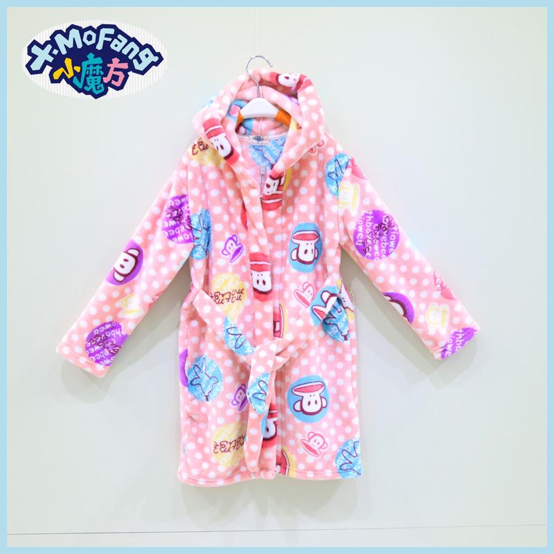 Kids Girls Robes Monkey Pattern Children's Clothing Sleepwear & Robe Baby Clothing Bathrobe Kids Roupao Infantil WB-20(China (Mainland))