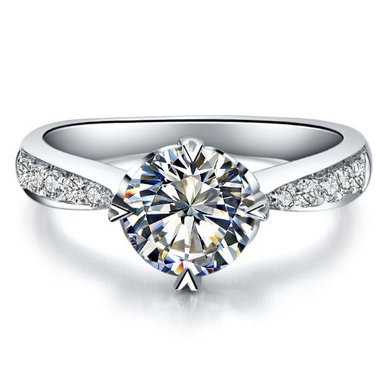 0.6 Carat Excellent Lovely Pure White GOld 14K Simulate Diamond Anniversary Ring Quality Guarantee Never Fade Free Shipping(China (Mainland))