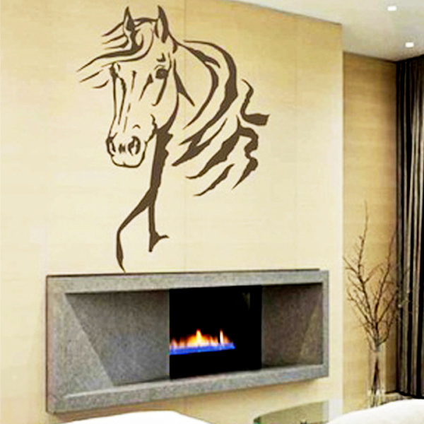 Horse head animal wall stickers boys bedroom mural art for Mural art designs for bedroom