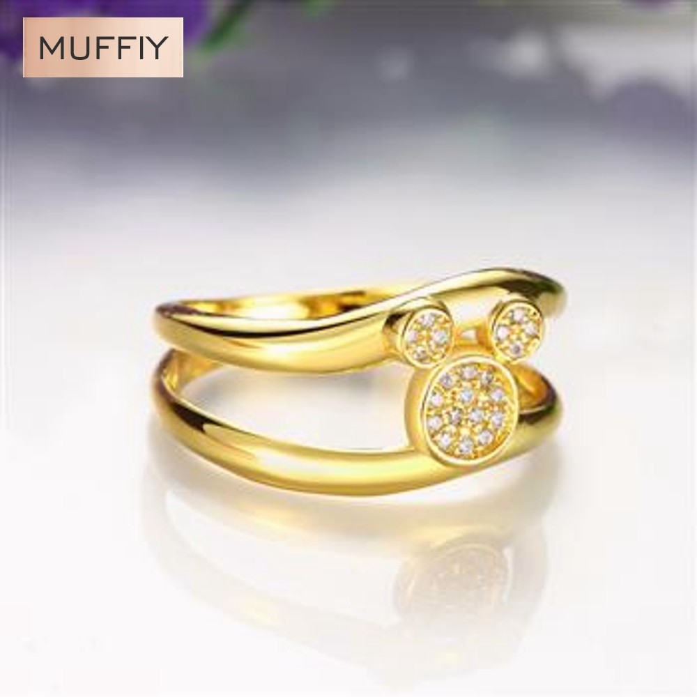 Fashion Exquisite Crystal Mickey Mouse Design Animal Ring Punk Gold Plated & Zirconia Gift Women Dress Accessories(China (Mainland))