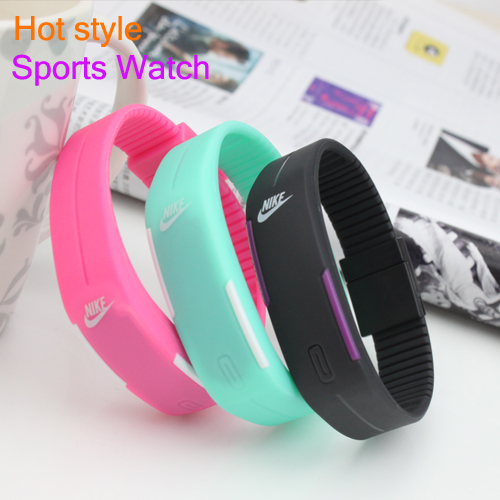 New Design Fashion Sport LED Watch Candy Multi-Color Silicone Rubber Touch Screen Digital Watches Waterproof Bracelet Wristwatch(China (Mainland))