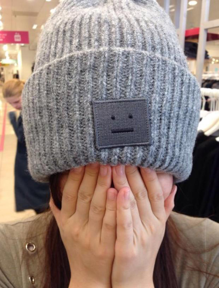 Free shipping autumn and winter lovers acne square smiley labeling wool hat knitted hat wool cap Sui pointed Song QianОдежда и ак�е��уары<br><br><br>Aliexpress