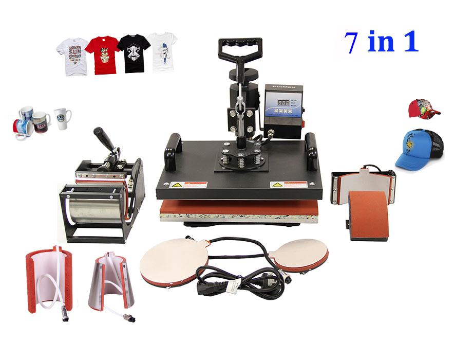 New 30*38CM 7 in 1 Combo Heat Press Machine Thermal Transfer Machine Sublimation Machine for Cap Mug Plates T-shirts Printing(China (Mainland))