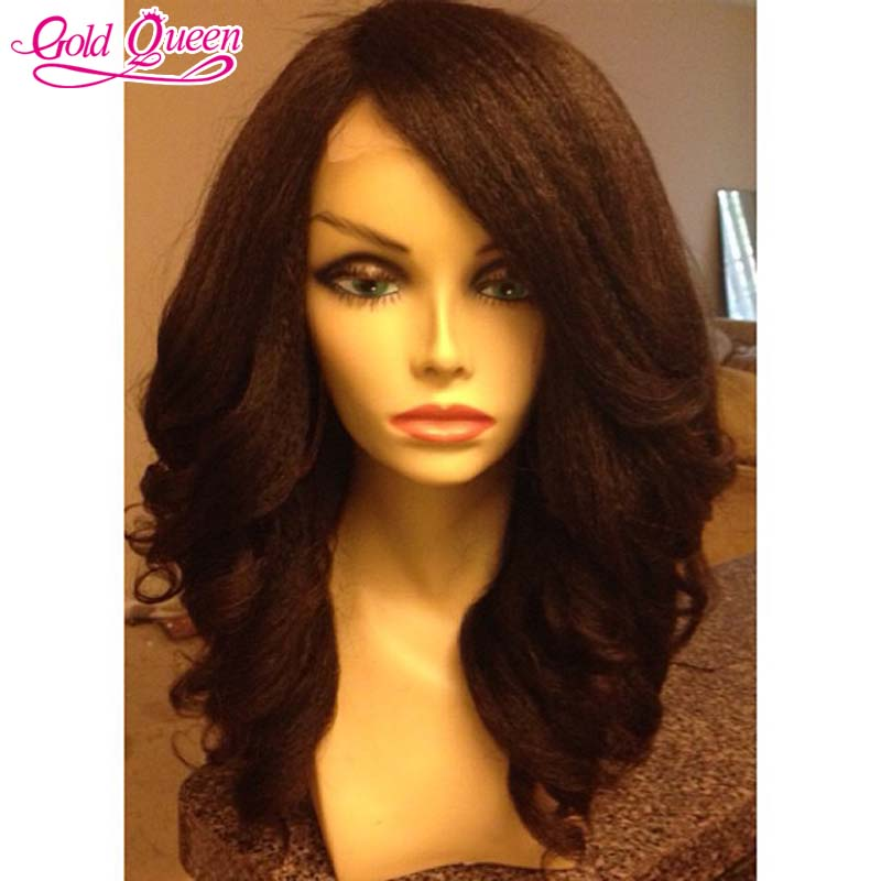 New Stylish yaki body wave lace front wigs for black women 180% unprocessed Italian kinky yaki lace front hair wigs baby hair(China (Mainland))