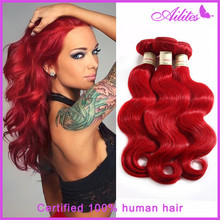 14-26 inch 3pcs lot 98-102g/pcs 100% human hair extension RED 36# brazilian virgin hair best sale red brazilian hair body wave(China (Mainland))
