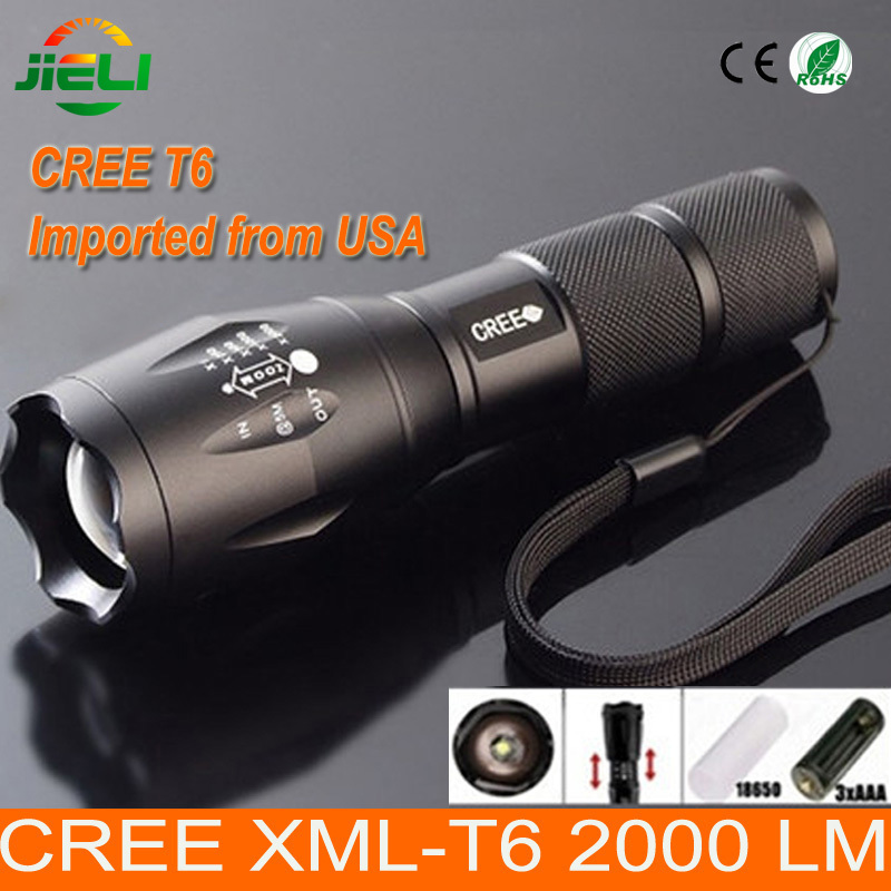Big Promotion Ultra Bright CREE XML-T6 LED Flashlight 5 Modes 2000 Lumens Zoomable LED Torch with 3XAAA or 1X18650 battery(China (Mainland))