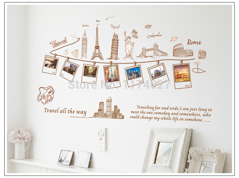 Free shipping Euramerican Style Travel Around The World Design Removable Wall Stickers home decoration