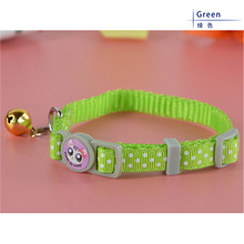 Free Shipping 6 Colors 7-11inch Polka Dot Nylon Pet Cat Collar with Bells(China (Mainland))