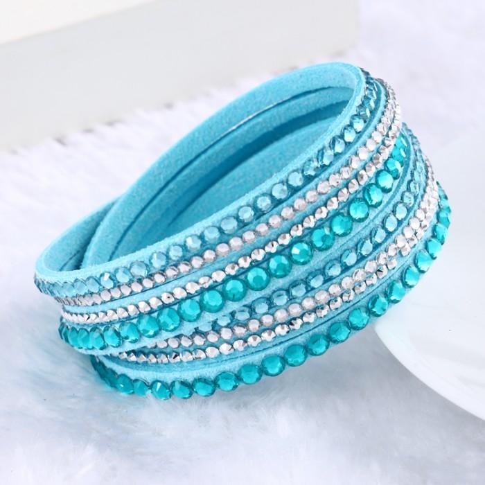 2015 новый кожаный браслет горный хрусталь браслет обруча многослойных браслеты для женщин браслеты mulher ювелирных изделий