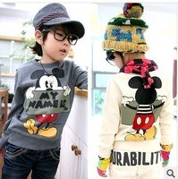 Free Shipping NEW 1Piece/Lot Children 2015 Child Baby Boy Girl Spring Autumn Long Sleeve Hoodie Boy sweatshirts Cute Cartoon