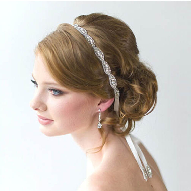 Fashion Handmade Rhinestone Beads Wedding Evening Headband Ribbon Bridal Hair band Head Piece(China (Mainland))