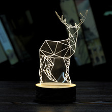 Xmas Deer 3D USB LED Unique Lighting Effects Optical Illusion Decor Table Lamp Sleep Night Light Great Cheristmas Gift (China (Mainland))