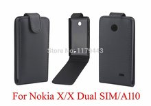 BLACK PU LEATHER FLIP CASE COVER Skin Open from Up For Nokia X/X Dual SIM/A110 Phone Cases Free Shipping(China (Mainland))