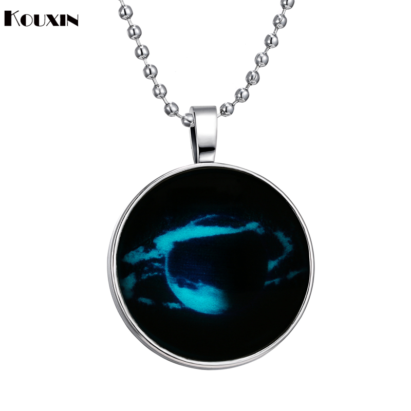 European and America Style Hot Selling Romantic Valentine's Day Gift Creative Space Jewelry Round Glow In Dark Pendant Necklaces(China (Mainland))