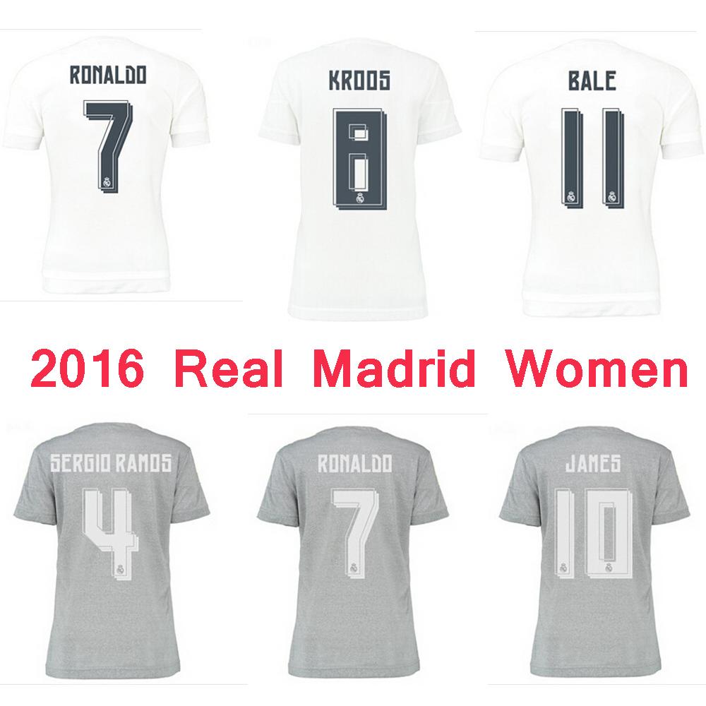 Women 2016 Real Madrid Soccer Jerseys RONALDO ISCO BALE JAMES KROOS BENZEMA 15 16 MODRIC Real Madrid Lady Girl Football Shirts(China (Mainland))