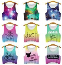 2016 New Women T Shirt space galaxy tanks Camis crop Tops girl Print T-shirt female lady blue/green Tee Tops For Women Blusas