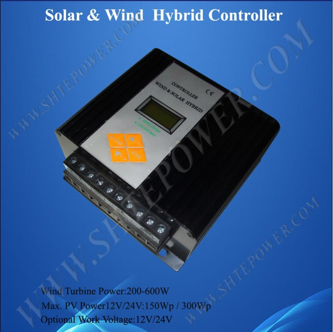 Auto recognition 12v/24v mppt solar panel charge controller wind generator controller hybrid 200-600w(China (Mainland))
